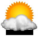 Dia de sol com algumas nuvens e névoa ao amanhecer. Noite com poucas nuvens.